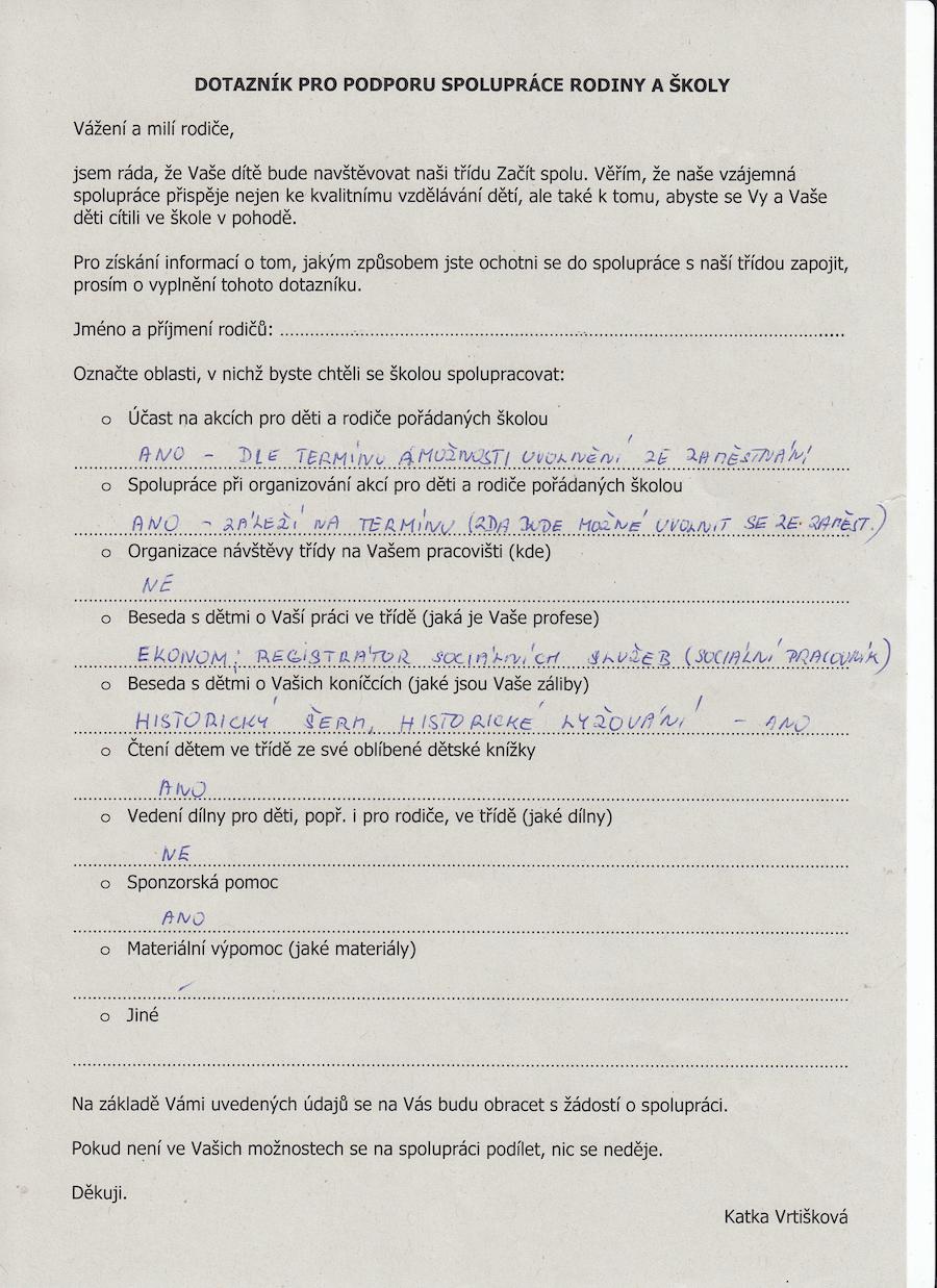 Foto 9, 10, 11, 12 – Dotazník pro podporu spolupráce rodiny a školy. Zdroj: archiv Kateřiny Vrtiškové