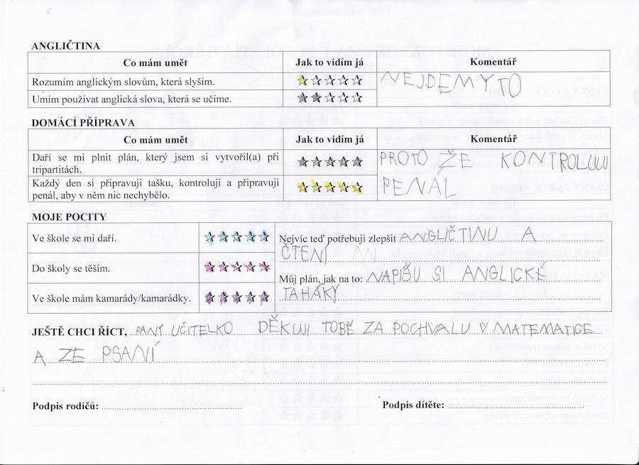 Foto 5, 6, 7, 8 – Pololetní sebehodnocení žáka. Zdroj: archiv Kateřiny Vrtiškové