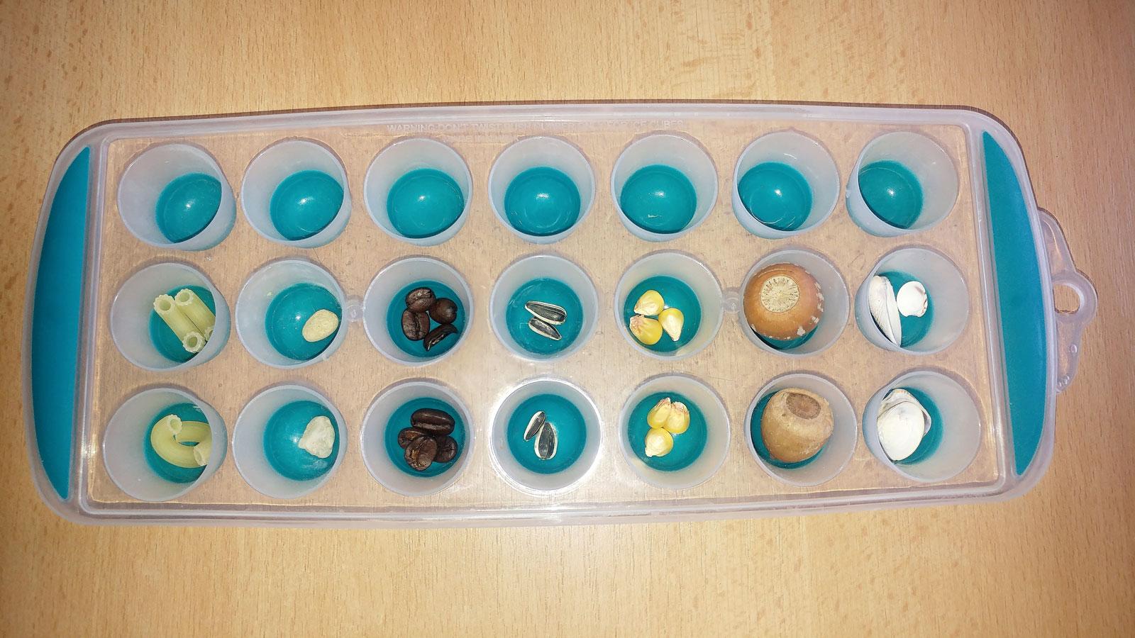 Hra rozvíjejí matematické dovednosti s pomocí tvořítka na led a přírodnin_6. Dítě doplnilo 3. řádek - o 1 předmět víc v každém poli, oproti předchozím řádkům. Zdroj Archiv Vladimíry Tomíkové