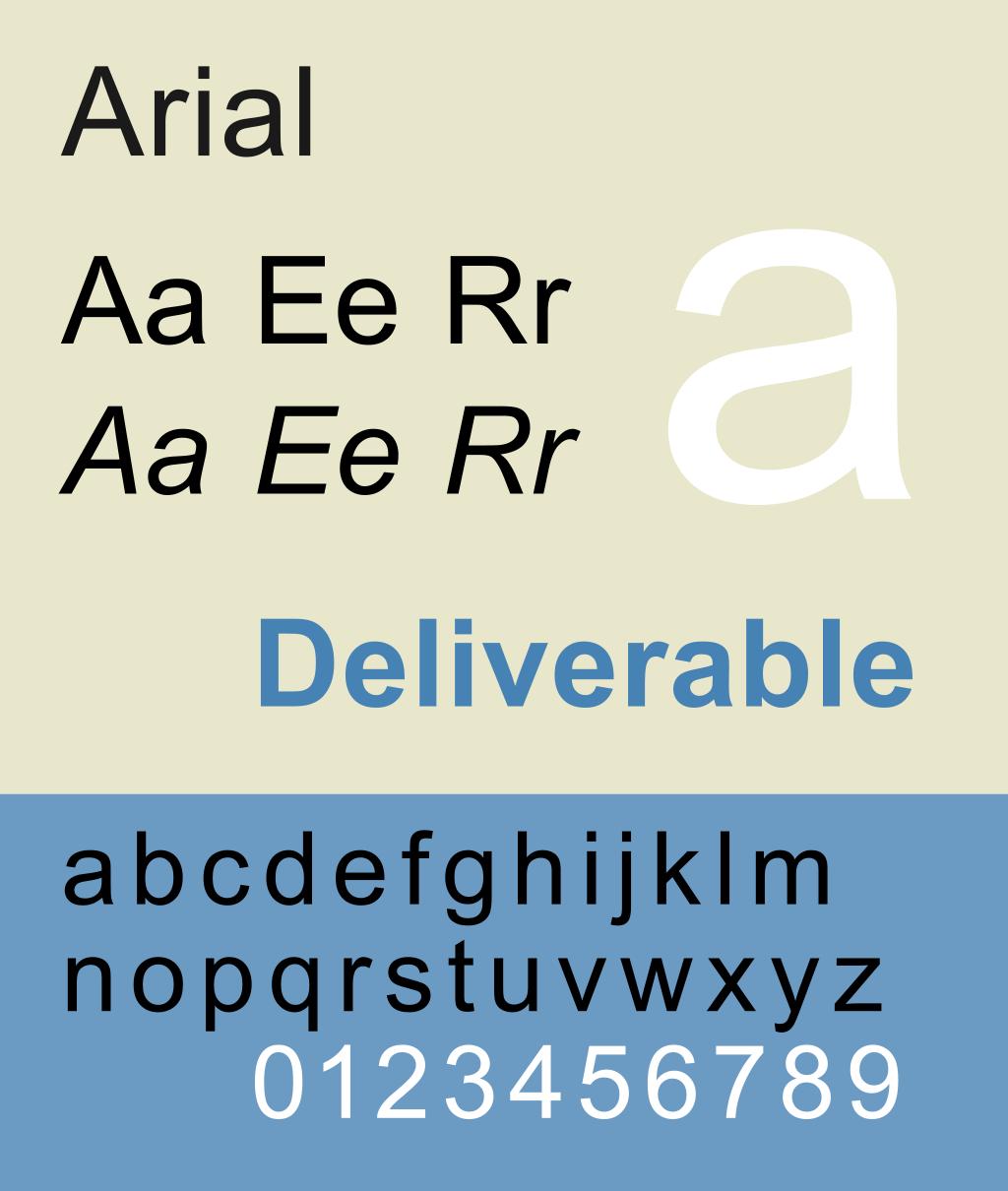 5 - bezpatkové písmo arial